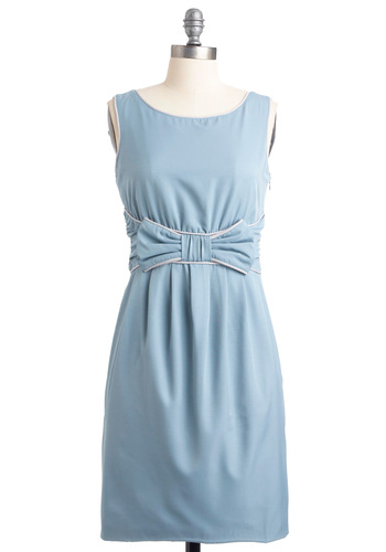 Your Partying Gift Dress in Sky - Mid-length, Wedding, Party, Blue, Solid, Bows, Shift, Sleeveless, Grey