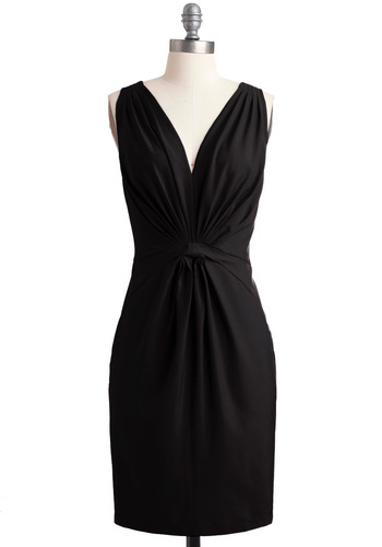 My Savoir-Faire Lady Dress in Noir - Mid-length, Wedding, Black, Solid, Pockets, Formal, Sheath / Shift, Sleeveless
