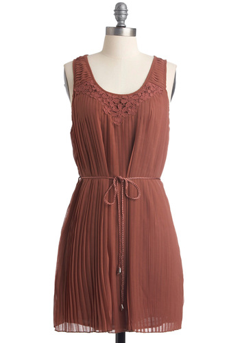 So Fair, So Good Dress - Solid, Pleats, Sleeveless, Crochet, Casual, Sack, Fall, Brown, Short