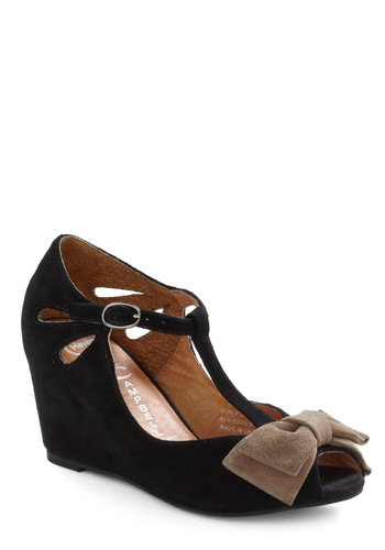 Bow-town Favorites Wedge in Black by Jeffrey Campbell - Black, Tan / Cream, Bows, Buckles, Cutout, Formal, Prom, Wedding, Party, Casual, Wedge, T-Strap, Mid, Best