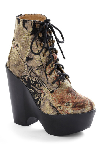 You've Gotta Be Kitten Me Bootie by Jeffrey Campbell - Casual, Statement, Multi, Brown, Tan / Cream, Black, Print with Animals, Winter