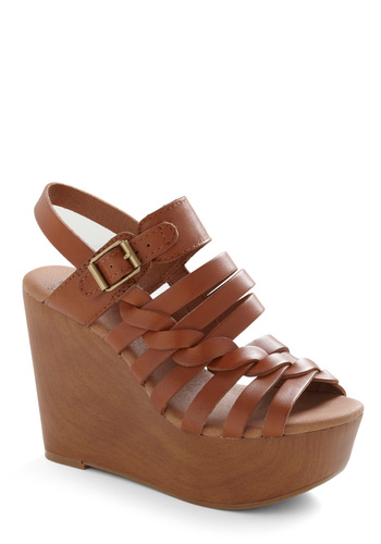 Confident Stride Wedge by Lucky - Brown, Solid, Buckles, Braided, Wedge
