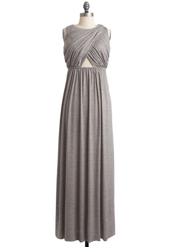 Gone for Glam Dress - Long, Grey, Solid, Cutout, Maxi, Sleeveless, Casual, Summer