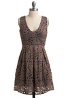Blueberry Filling Dress - Mid-length, Blue, Lace, A-line, Sleeveless, Brown, V Neck, Casual