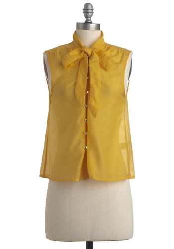 Mi Casaba Es Tu Casaba Top - Mid-length, Yellow, Solid, Bows, Buttons, Work, Sleeveless, Summer