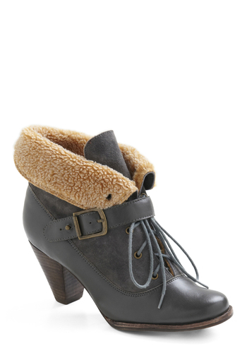 Frost in Line Boot by Jeffrey Campbell - Casual, Vintage Inspired, Grey, Tan / Cream, Solid, Buckles, Winter