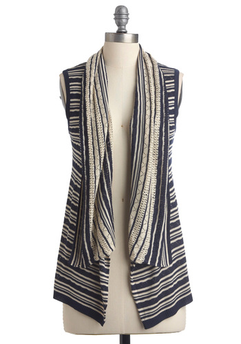 Knit's Perfect Vest - Mid-length, Stripes, Knitted, Sleeveless, Blue, Tan / Cream, Crochet, Casual