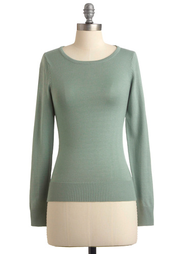 Maritime Meandering Sweater - Green, Solid, Long Sleeve, Work, Mid-length