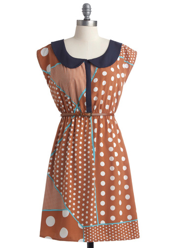 Fine in Dots and Lines Dress - Mid-length, Casual, Vintage Inspired, 60s, Brown, Blue, White, Polka Dots, Peter Pan Collar, A-line, Cap Sleeves, Multi, Print