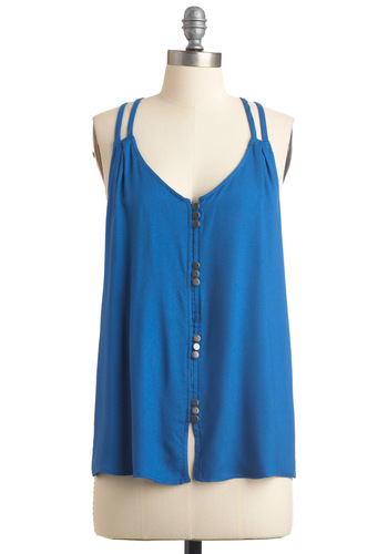 Cobalt-ic Sea Tank - Casual, Blue, Solid, Buttons, Racerback, Summer, Mid-length