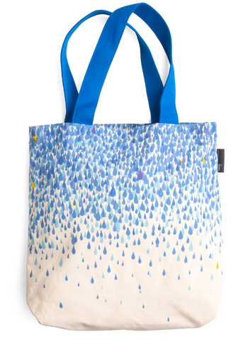 Raindrops Falling on My Tote - Casual, Blue, Print, Tan / Cream