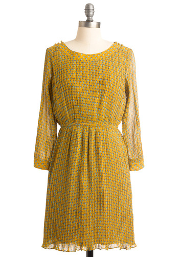 I Never Nouveau Dress - Mid-length, Buttons, Pleats, Work, Vintage Inspired, Yellow, Blue, Print, Long Sleeve, A-line, Spring
