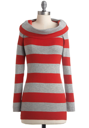 I'm All Linears Sweater - Red, Stripes, Long Sleeve, Casual, Grey, Fall, Mid-length