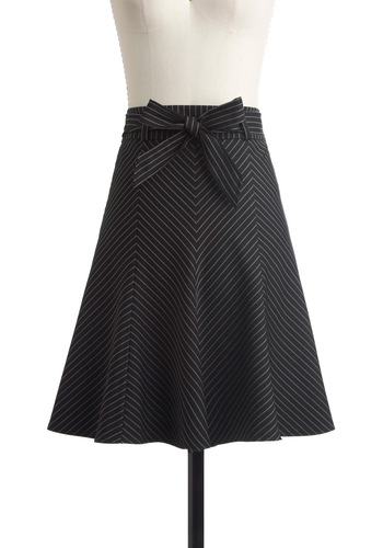 Profesh Pinstripes Skirt in Black - Mid-length, Black, Stripes, Bows, Work, Menswear Inspired, White, A-line