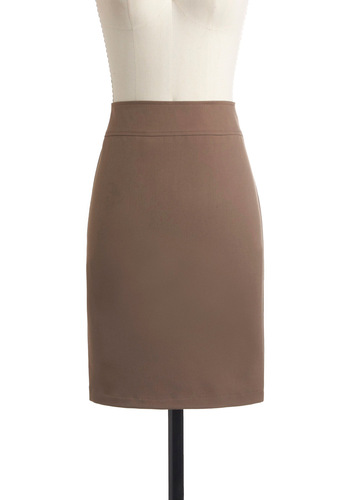 Professionally Speaking Skirt in Camel - Mid-length, Work, Tan, Solid