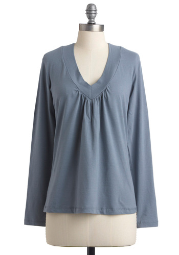 Tee Party Top in Rain - Casual, Blue, Solid, Long Sleeve, Mid-length