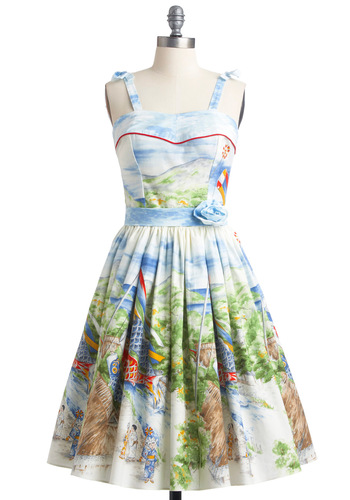 Koi to the World Dress - Multi, Print, Bows, A-line, Party, Vintage Inspired, 50s, Statement, Red, Yellow, Green, Brown, Flower, Pockets, Tank top (2 thick straps), Summer, Blue, Long