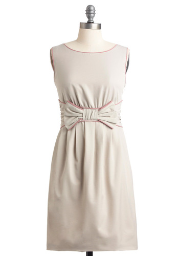 Your Partying Gift Dress in Stone - Mid-length, Wedding, Party, Grey, Pink, Solid, Bows, Sheath / Shift, Sleeveless
