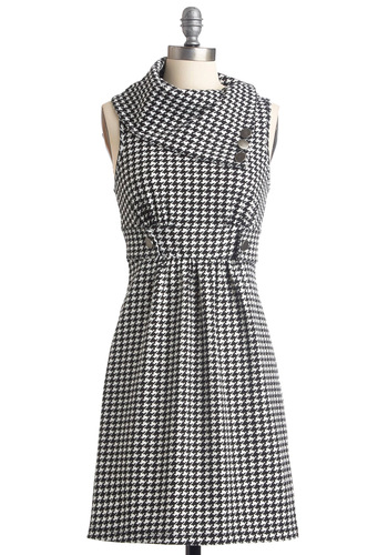 Streetcar Tour Dress in Houndstooth - Houndstooth, Buttons, Work, Vintage Inspired, A-line, Sleeveless, Fall, Casual, Black, White, Winter, Print, Mid-length