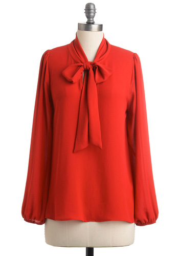 Alaskan Cruise Top in Maraschino - Mid-length, Solid, Bows, Long Sleeve, Work, Vintage Inspired, 40s, Red, Fall