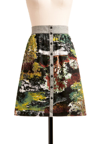 Blast from the Pastoral Skirt - Mid-length, Multi, Yellow, Green, Brown, Black, Grey, Print, Buttons, Casual, Fall, A-line