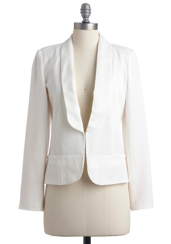 Whiter Shade of Vail Blazer - Mid-length, White, Solid, Pockets, Long Sleeve, Menswear Inspired, Party, Nautical, Spring, Girls Night Out, 1