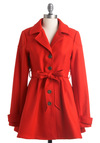 Minneapolis Marvel Coat - Long, Casual, Urban, Orange, Solid, Buttons, Pleats, Pockets, Long Sleeve, 2.5