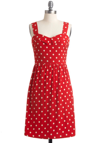 Berry Much in Love Dress - Mid-length, Red, White, Polka Dots, Sheath / Shift, Tank top (2 thick straps), Casual, Summer
