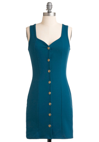 Exception to the Cerulean Dress - Blue, Solid, Buttons, Cutout, Shift, Sleeveless, Party, Short