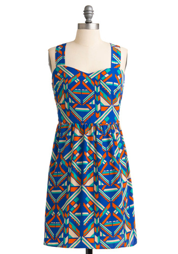 Off to Austin Dress - Mid-length, Blue, Print, Sheath / Shift, Tank top (2 thick straps), Multi, Orange, Green, Tan / Cream, Casual, Summer