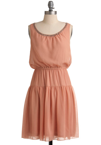 Want a Peach of Me Dress - Mid-length, Solid, Beads, A-line, Sleeveless, Party, 30s, Orange, Pastel