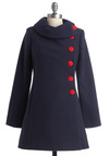 Mod for It Coat - Long, Vintage Inspired, 60s, Blue, Red, Solid, Buttons, Pockets, Long Sleeve, Work, Winter, 3, International Designer