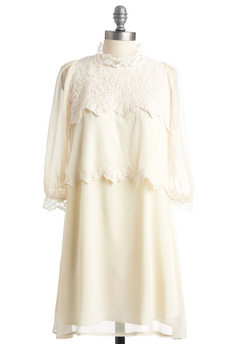 Frozen Confection Dress - Party, Vintage Inspired, 3/4 Sleeve, Cream, Solid, Lace, Sheath / Shift, Scallops, Tiered, Short, White, 20s, 30s