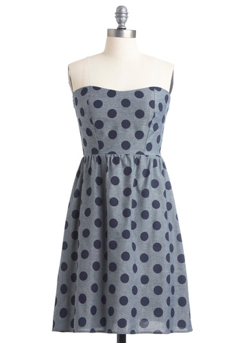 Dots Amore Dress - Mid-length, Polka Dots, Casual, Nautical, A-line, Strapless, Blue, Print