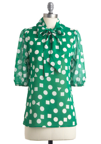 Substitute Teacher Top - Work, Green, White, Print, Bows, 3/4 Sleeve, Mid-length