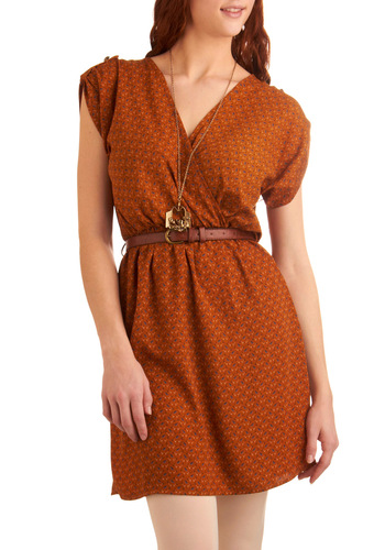 My Kind of Folk Dress in Rust - Mid-length, Casual, Orange, Blue, Floral, Buckles, A-line, Cap Sleeves, Brown, Wrap, Fall, Belted, V Neck
