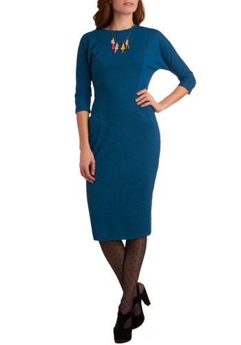 Apres Soiree Dress by Bettie Page - Long, Blue, Solid, Pockets, Sheath / Shift, 3/4 Sleeve, Work