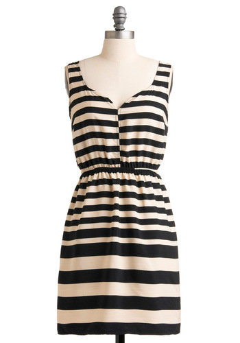 Drawing Parallels Dress - Mid-length, Casual, Nautical, Stripes, Sheath / Shift, Sleeveless, Tan / Cream, Summer, Blue