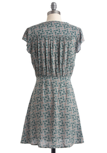 Center Stagecoach Dress - Mid-length, Casual, Green, Print, Buttons, Cap Sleeves, A-line, Multi, Grey, Button Down, V Neck