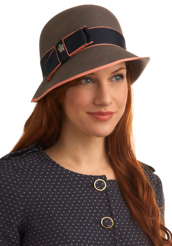 Cloche to You - Vintage Inspired, 20s, 30s, Brown, Blue, Pink, Solid, Bows, Trim, Fall