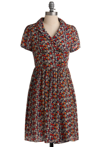Just Precious Play Dress - Mid-length, Multi, Floral, Buttons, A-line, Short Sleeves, Red, Yellow, Blue, Tan / Cream, White, Vintage Inspired