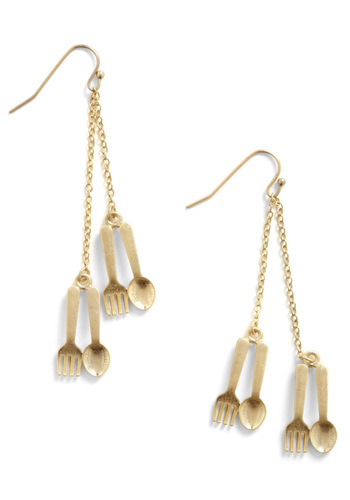 Table Glamour Earrings - Casual, Gold, Solid
