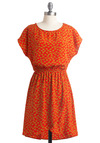 Zoo Won't Forget This Dress - Mid-length, Yellow, Print with Animals, Cutout, Casual, A-line, Short Sleeves, Orange, Red