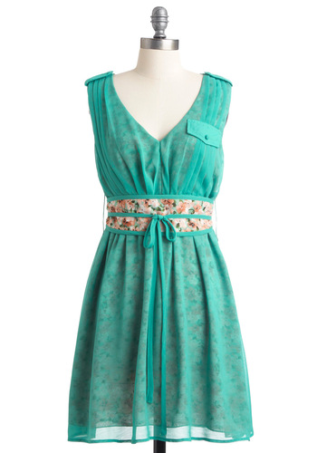 Heart and Solarium Dress - Mid-length, Green, Floral, Pleats, Pockets, Tan / Cream, Party, A-line, Sleeveless, Spring