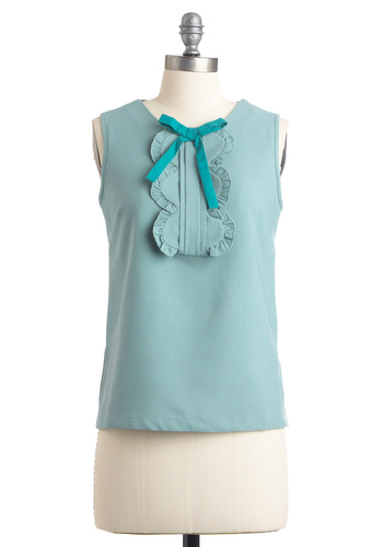 So Good to be Spearmint Top - Mid-length, Solid, Bows, Pleats, Ruffles, Sleeveless, Work, 50s, Scallops, Spring, Blue, Pastel, Mint