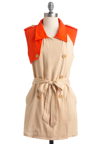 Beach Front Breakfast Tunic - Long, Safari, Tan, Orange, Buttons, Epaulets, Casual, Sleeveless