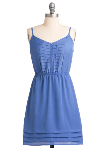 Periwinkle in Time Dress - Casual, Blue, Solid, Buttons, Pleats, A-line, Spaghetti Straps, Spring, Short