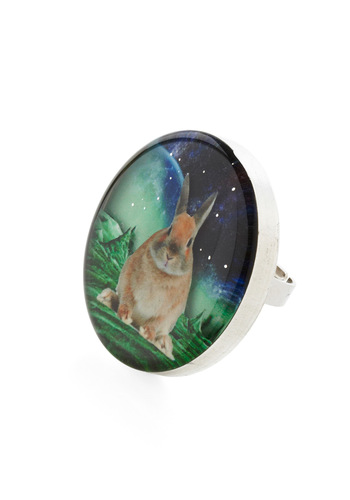 Celestial Bunnies Ring by Locketship - Casual, Statement, Green, Blue, Tan / Cream