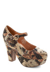 Woofing It Heel by Jeffrey Campbell - Tan, Brown, Print with Animals, Buckles, Multi, Black, Statement, Platform, Mary Jane, High