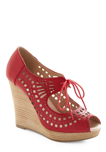 Keep 'Em Perforated Heel - Red, Cutout, Casual, Summer, Solid, Tan / Cream, Boho, Vintage Inspired, 70s, Wedge